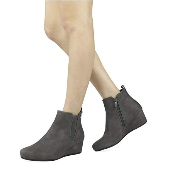 Womens Zoey Low Wedge Ankle Boots